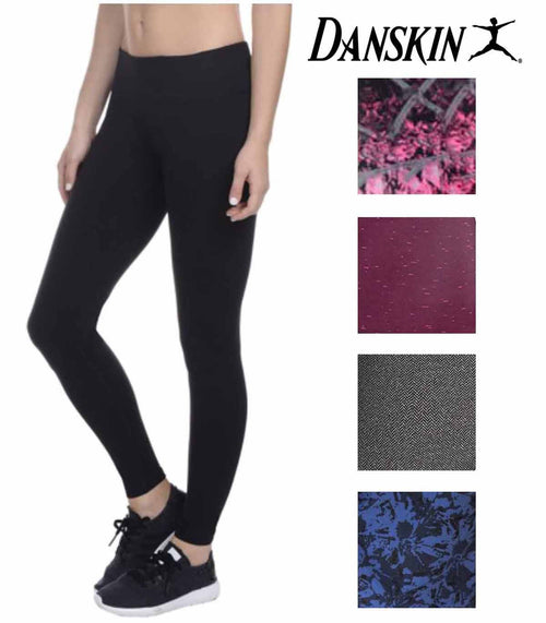 Danskin Womens Supplex CoolMax Active Stretch Printed Ankle Legging Yoga Pants