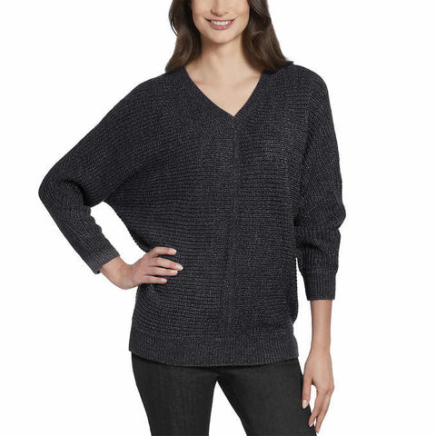 Ellen Tracy Women's 3/4 Sleeve V-Neck Sweater Top
