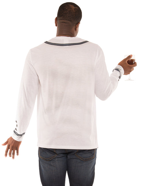 Faux Real Photorealistic Mens White Tuxedo Long Sleeve Shirt