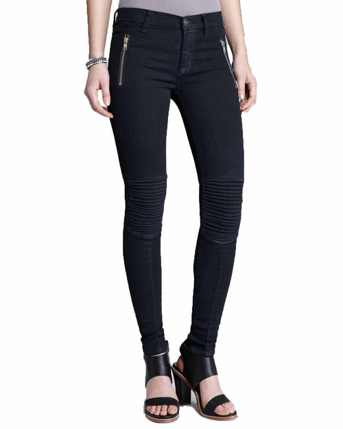 Hudson Womens Stark Moto Super Skinny Fashion Edgey Pintuck Pleated Knee Jeans