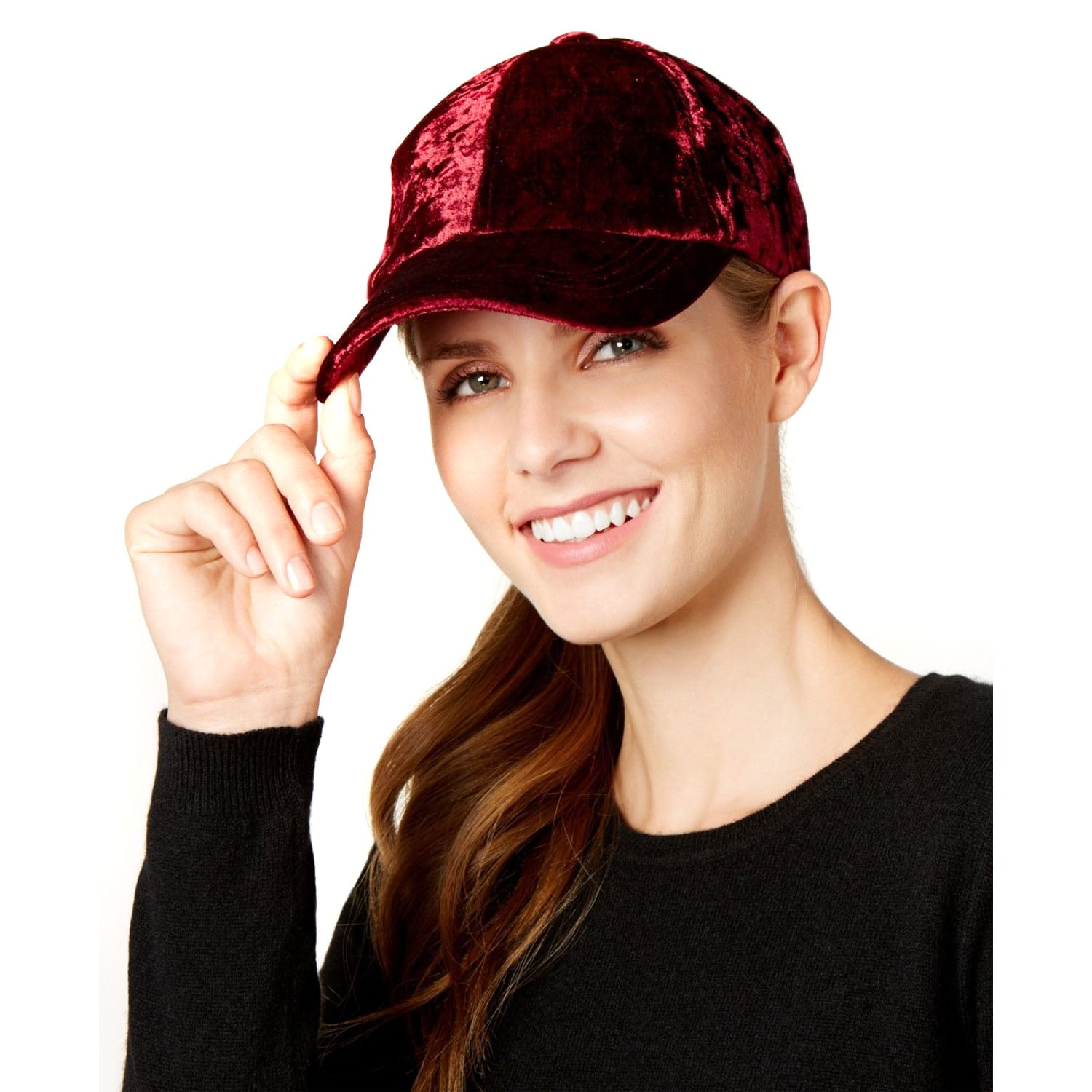 124ee8caaa124 INC International Concepts Womens Crushed Velvet Baseball Cap (Wine). Tap to  expand