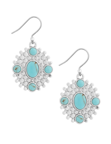 Lucky Brand Womens Turquoise Dot Drop Silver Earrings