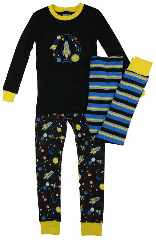 Kirkland Signature Boy's 3 Piece Mix and Match Organic Cotton Pajama Set