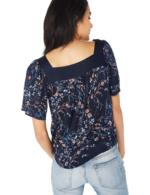 Lucky Brand Womens Shadow Stripe Floral Print Peasant Top