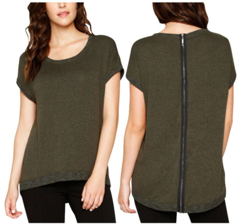 Matty M. Women's Short Sleeve Zippered Back Sweater Shirt