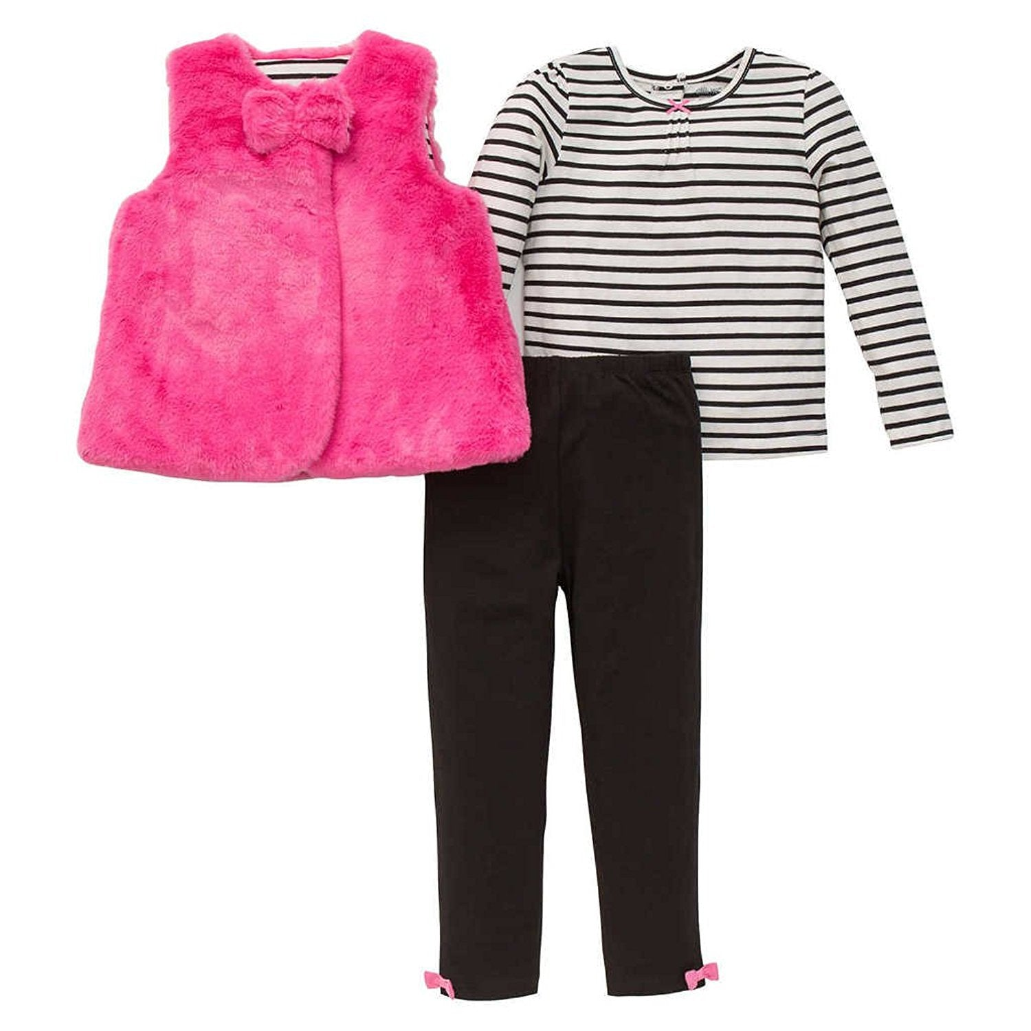 b623c6a20d76a Little Me Girls 3 Piece Pink Quilted Double Breasted Jacket, Leggings and  Long Sleeved Shirt. Tap to expand