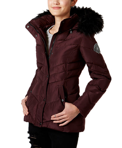 Madden Girl Juniors' Faux-Fur-Trim Hooded Puffer Coat
