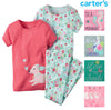 Carter's Little Girls 3 Piece Cotton Pajama Sleepwear Set