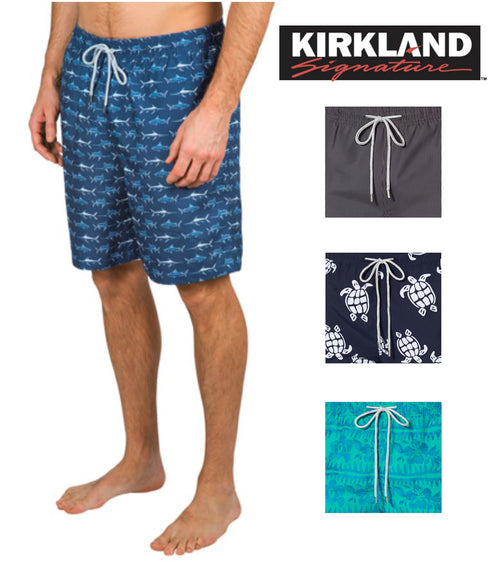 Kirkland Signature Men's Elastic Waistband Mesh Lined Swim Short Trunk