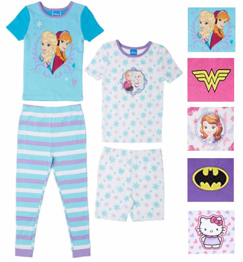 Girl's 4 Piece Mix and Match Character Pajama Sleepwear Set-Princess, Super Hero