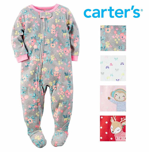 Carters Girls 1 Piece Footed Sleeper Zip Up Fleece Pajama