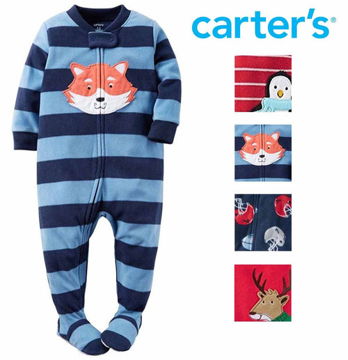 Carters Little Boys Printed Footed 1 Piece Fleece Zip-Up Sleepwear Pajamas