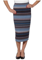 Matty M Women's Patterned Midi Pencil Stretch Fashion Skirt