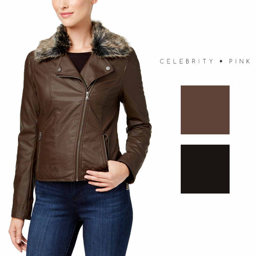 Celebrity Pink Juniors' Faux-Fur-Collar Faux-Leather Moto Jacket