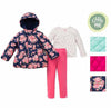 Little Me Girls 3 Piece Pink Quilted Double Breasted Jacket, Leggings and Long Sleeved Shirt