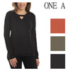 One A Womens Knit Front Woven Back Keyhole Top