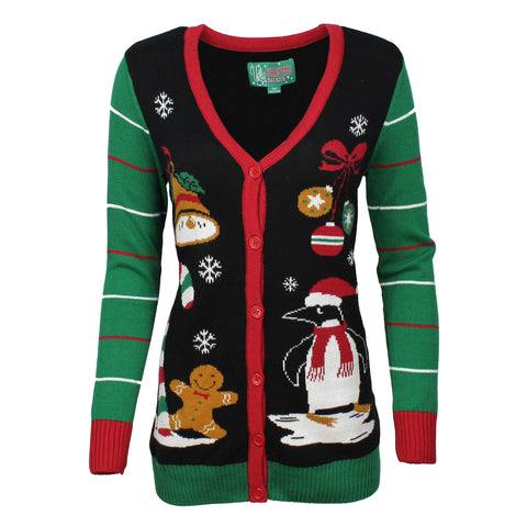Ugly Christmas Sweater Women's Long Sleeve Penguin Cardigan