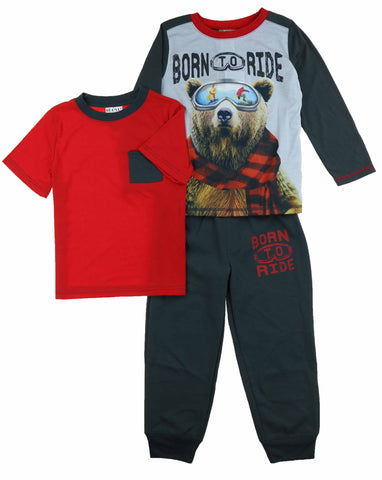 St. Eve Boy's 3 Piece Mix and Match Flame Resistant Pajama Sleep Set