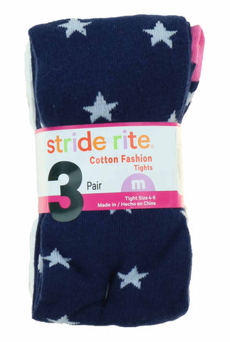 Stride Rite Girl's 3 Pack Cotton Fashion Tights/Leggings