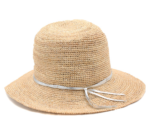 Tommy Bahama Womens Florabella Raffia Bucket Hat, (Natural/Silver, One Size)_