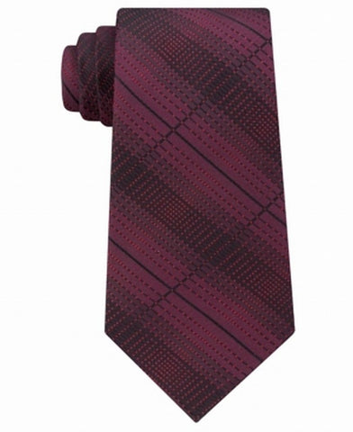 Kenneth Cole Reaction Mens Optical Texture Plaid Silk Tie (Burgundy)
