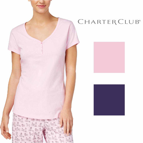 Charter Club Women's V-Neck Soft-Cotton Pajama Top