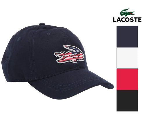 Lacoste Men's Big Croc Adjustable American Flag Logo Cap, One Size