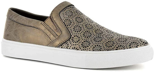 Corkys Womens Darlene Fashion Laser Cut Slip On Platform Sneaker