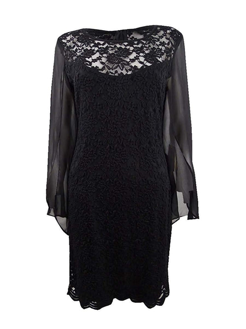 Connected Apparel Womens Lace Mini Sheath Cocktail Dress