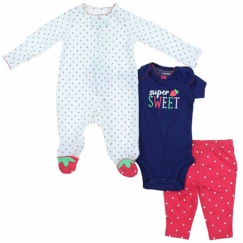 Carters Little Girls 3 Piece Pajama Clothing Set