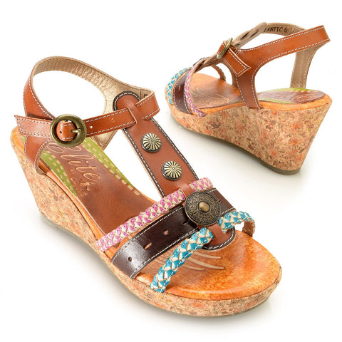 Corkys Elite Atlantic Hand-Painted Leather T-Strap Wedge Sandal