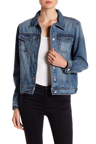 Lea & Viola Womens Lace-Up Back Denim Jacket (Blue, X-Small)