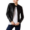 Maralyn & Me Juniors Textured Faux-Leather Jacket (Black, X-Small)