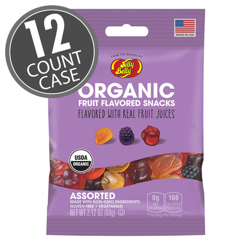 Jelly Belly Organic Fruit Flavored Snacks 2.12 oz Bag 12 Count Case