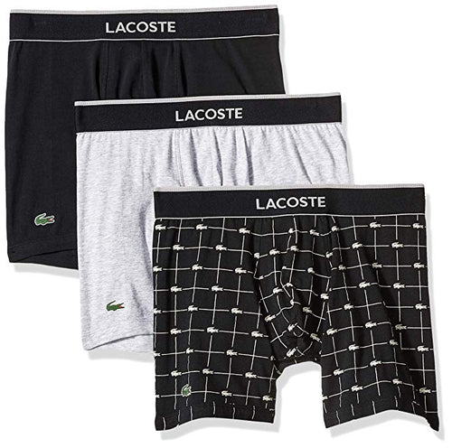Lacoste Men's Cotton Stretch Boxer Brief Underwear, Multipack