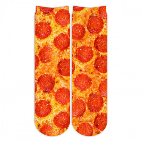 Sublime Designs Adult Fun Printed Crew Socks- Savory Pizza