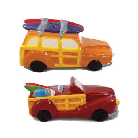 Barry Owens Co. Inc. Woody Car with Surfboard Salt and Pepper Shaker