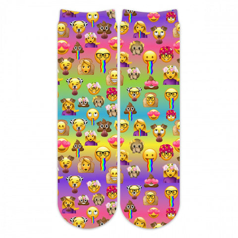 Sublime Designs Adult Fun Printed Crew Socks-Emoji 2.0 Rainbow Snapmoji