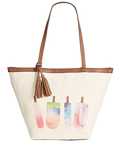 Style & Co. Womens Printed Canvas Tote Bag - Popsicle