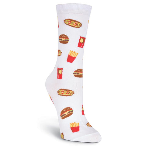 K. Bell Womens Novelty Junk Food Crew Socks (White, One Size)