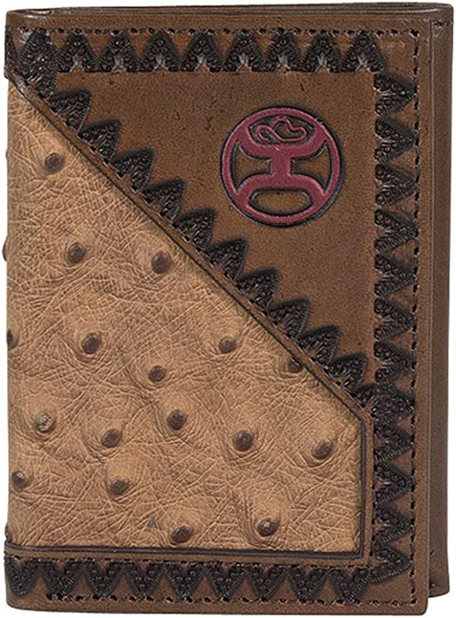 Hooey Ostrich Tooled Edge Leather Embossed Trifold Wallet Tan