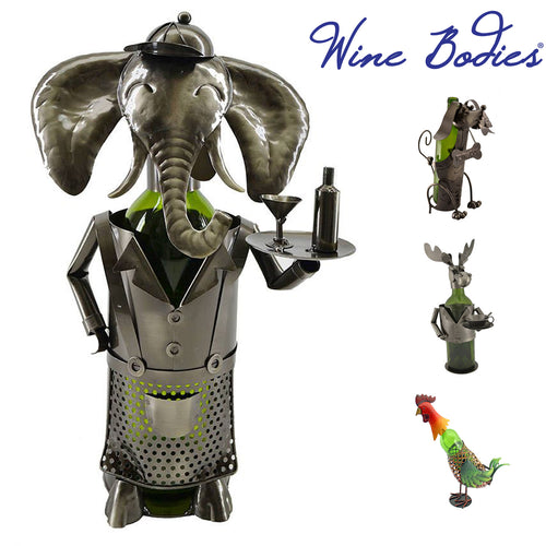 Animal Themed Recycled Metal Wine Bottle Holders