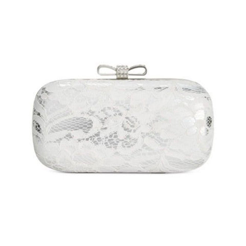 INC International Concepts Evie Lace Overlay Hard Shell Clutch (White/Silver)