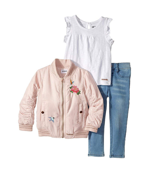 Hudson Kids Girls 3 Piece Set With Puffer Jacket Top And Jeans, Rose Bluebird