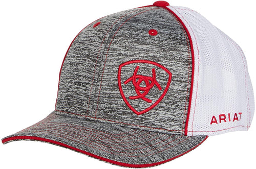 Ariat Mens Adjustable Snapback Mesh Cap Hat (Grey Heather/Red, One Size)