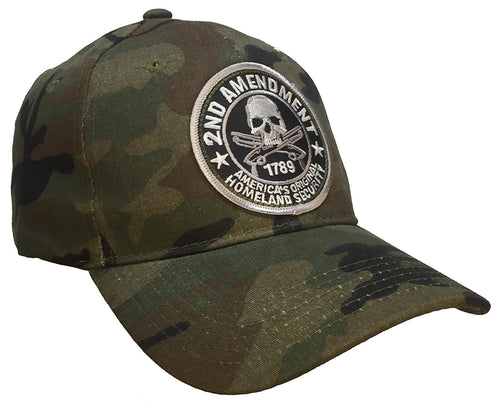 Hot Leathers Mens 2nd Amendment Homeland Security Ball Cap (Washed Camo)