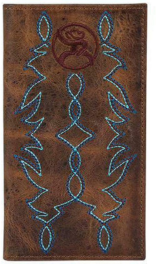 Hooey Mens Weathered Leather Roughy Logo Rodeo Wallet (Brown/Blue/Wine)