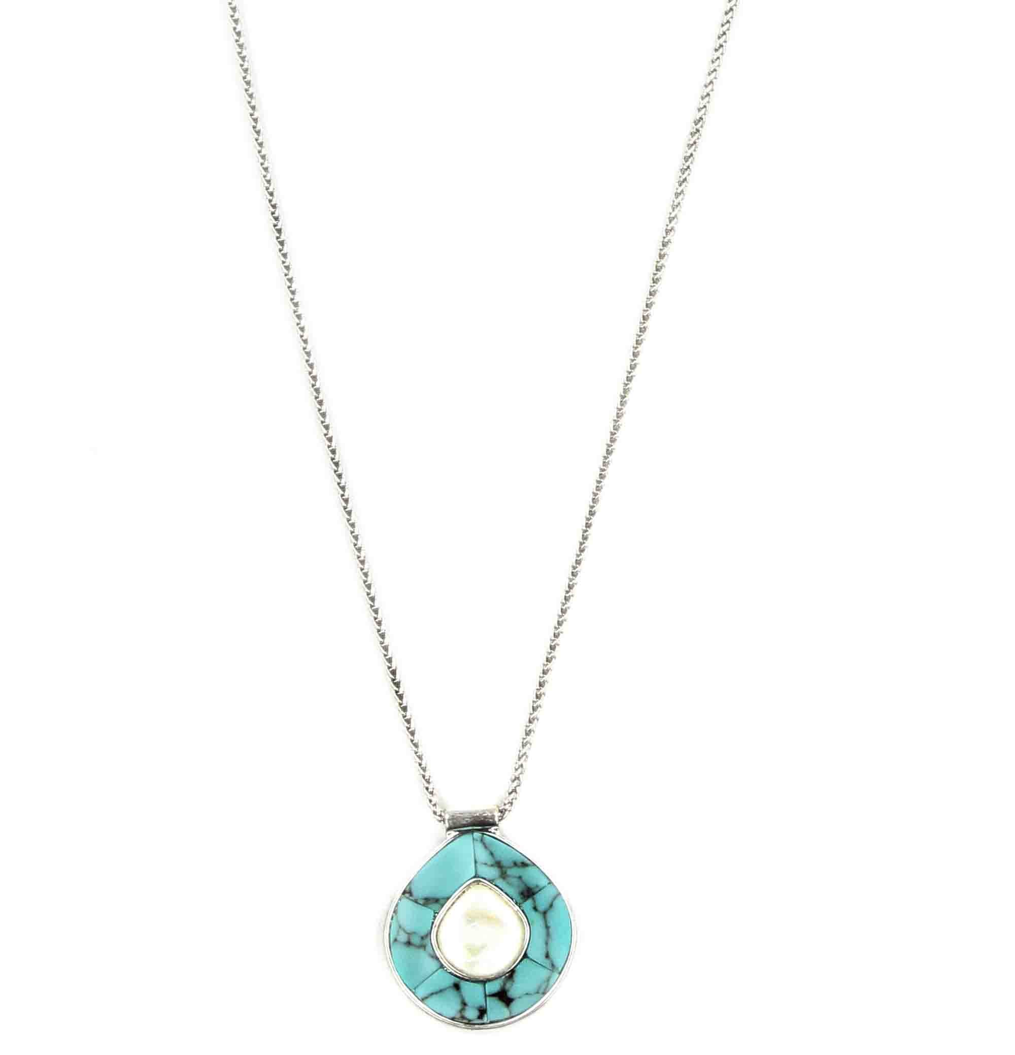 9ada62e8d8d8b Lucky Brand Womens Turquoise and Pearl Pendant Necklace