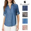 Gloria Vanderbilt Womens Giselle Button Down Blouse
