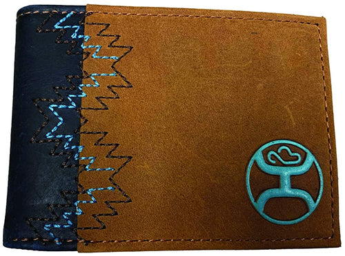 Hooey Mens Signature Logo Bifold Flip Wallet (Brown/Navy/Dusty Turquoise)